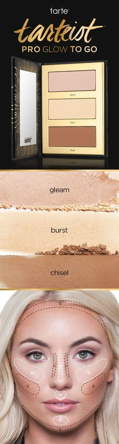 Glow on the go with our tarteist™ PRO glow to go highlight & contour palette! Designed to work on every skin tone, the three exclusive shades have rich, cool undertones to mimic real shadow and light reflection for the most natural look. ✨ #tartecosmetics #rethinknatural