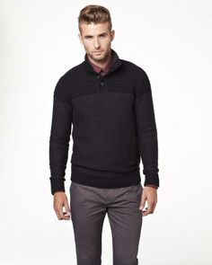 Two tone mock neck sweater