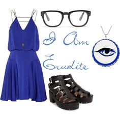 """I am Erudite"" by girlynerd on Polyvore. This outfit was based on the ""intelligent"" faction, Erudite, from Divergent. With their signature color of blue and the glasses."