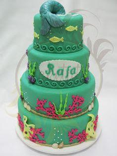 Caketutes Cake Designer: Bolo Pequena Sereia - The Little Mermaid Cake