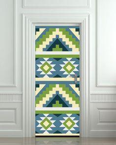 "Door wall sticker cover aztec ethnic tribal pattern 30x79""(77x200cm) | pulaton - Print on ArtFire"