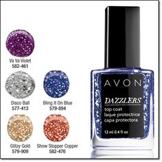 Avon Dazzlers Top Coat Can be worn alone or over your fave polish. .4 fl. oz. Price: $6.00 ANY 2 FOR $6.99, mix or match. Order here: www.youravon.com/mhamilton39. Register your email with me and get 10% off your next purchase plus other great offer's. Thanks and Happy Shopping!