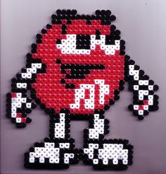 Red M perler beads by Exodecai Melty Bead Patterns, Pearler Bead Patterns, Perler Patterns, Beading Patterns, Peyote Patterns, Perler Bead Templates, Diy Perler Beads, Pearler Beads, Pixel Art
