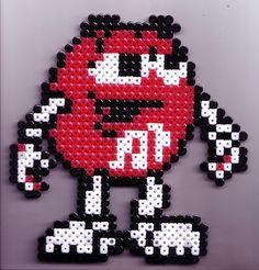 Red M perler beads