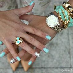 Turquoise nails and jewelry Cute Nails, Pretty Nails, Fancy Nails, Gorgeous Nails, Manicure E Pedicure, Manicure Ideas, Mani Pedi, Nail Trends, Turquoise Jewelry