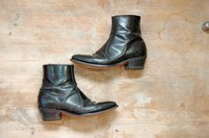 Black Leather Cowboy Ankle Boots / biker Boots / by Idlized