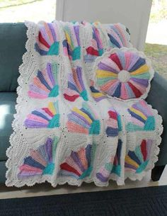 Scrap Fan Afghan and Pillow Crochet Pattern