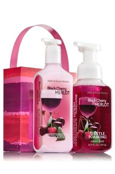 Black Cherry Merlot - Soap & Lotion Carrier - Bath & Body Works - Give the gift of clean, smooth hands! This perfect pairing features our Gentle Foaming Hand Soap (8.75 fl oz), bursting with our best foam ever, and Moisturizing Hand Lotion (8 fl oz), fortified with Shea Butter to hydrate and nourish skin. A cute, coordinating carrier makes gifting a cinch!