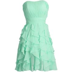 Simpledress Simple Chiffion Cascade Strapless Ruffles Short Bridesmaid... (290 RON) ❤ liked on Polyvore featuring dresses, green cocktail dress, green dress, short ruffle dress, short strapless cocktail dress and flutter-sleeve dress