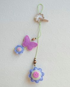 Flowers and butterfly felt bookmark by suyika on Etsy