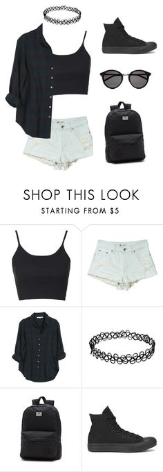 """""""❤️✌️"""" by nikolstone ❤ liked on Polyvore featuring Topshop, Roxy, Xirena, Converse and Yves Saint Laurent"""