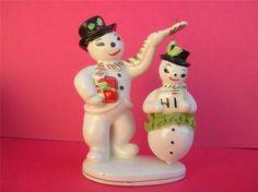 Vintage Santa and Spinning Ballerina Snowlady