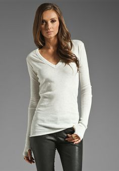 ENZA COSTA Cashmere Cuffed V Neck Sweater in Ash. Just purchased this as a layering piece. It has thumbholes. Thumbholes I say.