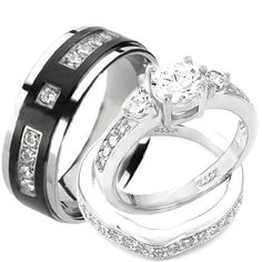wedding rings set his and hers titanium stainless steel engagement bridal rings set size - Grooms Wedding Ring
