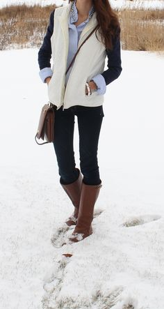 white vest, jeweled collar button up, sweater layering, riding boots, winter 2014 outfit