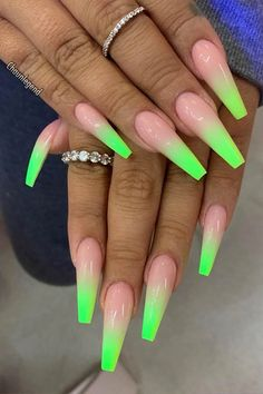 Green nails acrylic nail designs, acrylic nails, coffin nails, casket n Neon Acrylic Nails, Neon Nails, Acrylic Nail Designs, 3d Nails, Nail Polish Designs, Nails Design, Glitter Nails, Neon Green Nails, Green Nail Art