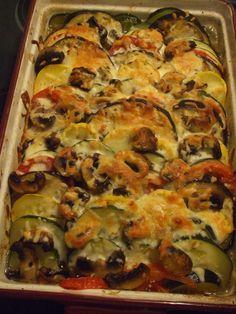 Summer Vegetable Bake : squash, eggplant, zucchini, tomatoes, peppers= summer goodness