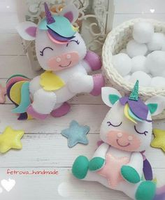 Make A Crochet Garden Unicorn Diy, Unicorn Party, Felt Crafts, Diy And Crafts, Sewing Projects, Projects To Try, Diy Bebe, Baby Mobile, Felt Toys