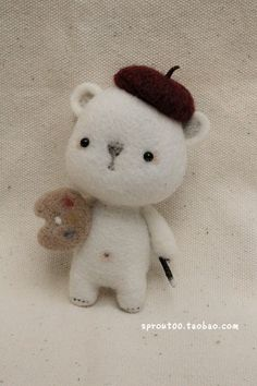 SPROUT original handmade wool felt little polar bear - acorn hat adaptation