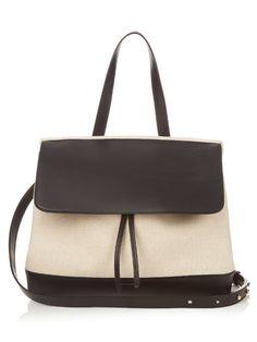 MANSUR GAVRIEL Lady Top-Handle Leather And Canvas Bag. #mansurgavriel #bags #shoulder bags #hand bags #canvas #leather #