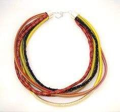 Multi-stranded boho necklace fabric necklace by LunarieStore