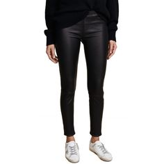 Helmut Lang Stretch Leather Pants (7 515 SEK) ❤ liked on Polyvore featuring pants, black, skinny trousers, leather trousers, elastic waist pants, leather pants and genuine leather pants