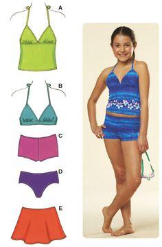 6fa2044a5a6c Kwik Sew 3605 Girls Mix   Match Swimwear