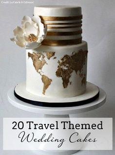 20 Travel Themed Wedding Cakes | SouthBound Bride | http://www.southboundbride.com/travel-theme-wedding-cakes | Credit: La Fabrik À Gâteaux!