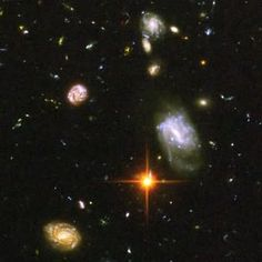 Close-Up of Galaxies from the Hubble Ultra Deep Field Image