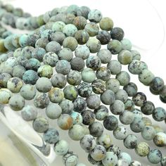 African Turquoise is mined in Africa and is actually in the jasper family, not turquoise. Because the matrix of African Jasper and Turquoise are so similar, it has become so much in-demand now that ne