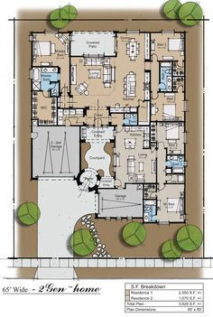 2Gen ranch Plan---I really like this plan!!! It would have room for family, guests and a music room!!