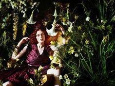 Oksana Tessitelli.Once upon in a Fairytale: Pre-raphaelite inspiration. Karen Elson photographed by Jeff Bark for Porte Magazine #2 Summer 2014