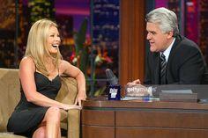 Actress/talk show host Kelly Ripa (left) appears on 'The Tonight Show with Jay Leno' on January 19, 2004 at the NBC Studios, in Burbank, California.