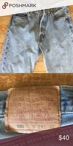 Vintage 501 Perfect rinse, 29 X 32. But fits like a 25-26 on girls Boyfriend jeans. Guys jeans don't fit any cuter! Can be worn slouched, or high waisted with belt.   Worn, not new or old but just right Levi's Jeans Boyfriend