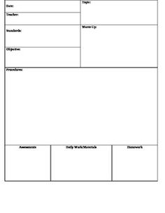 Blank Lesson Plans For Teachers  Lesson Plan For Gp Blank