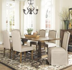 Coaster Parkins 7 Piece Dining Table and Chair Set with Parson Chairs & Parson Chairs w/ Skirt - Coaster Fine Furniture White Bathroom Furniture, Dining Room Furniture, Home Furniture, Dining Rooms, Rustic Furniture, Outdoor Furniture, Furniture Ideas, Modern Furniture, Online Furniture