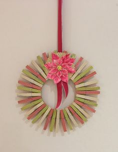 Reciclado de Peg Washi guirnalda de la cinta |  #wreath Oakfield manualidades #christmas