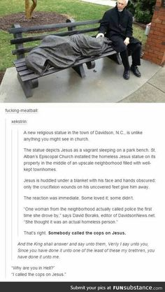 "She was like ""no way,"" and the cops were like ""Yahweh"" Jesus statue Tumblr Stuff, My Tumblr, Tumblr Posts, Tumblr Funny, Funny Memes, Hilarious, Videos Funny, Funny Quotes, Jokes"