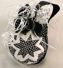 Handmade Quilted Christmas Ornament, Star Pattern, Black/White
