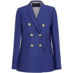 J.Crew Irene wool and silk-blend faille blazer ($600) ❤ liked on Polyvore featuring outerwear, jackets, blazers, blazer, blue, wool jacket, tailored blazer, j crew blazer, j crew jacket and wool blazer