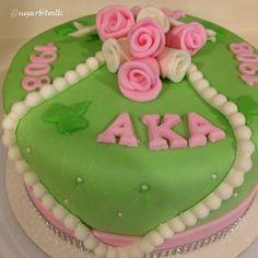 Photo from lovingmybeautiful Aka Sorority, Alpha Kappa Alpha Sorority, Sorority And Fraternity, Sorority Life, Theta, Aka Paraphernalia, Green Cake, Pink Apple, Green Party