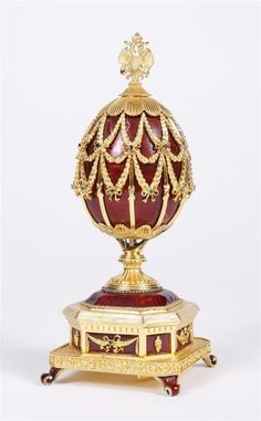 """STERLING """"IMPERIAL EAGLE"""" JEWELED EGG - Created by House of Faberge on the 150th Anniversary of Faberge, $3000 distributed by Franklin Mint"""
