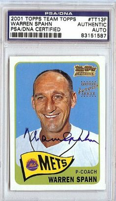 Warren Spahn Autographed 2001 Topps Card PSA/DNA #83151587 . $39.00. This is a 2001 Team Topps card that has been hand signed by Warren Spahn. It has been authenticated and slabbed by PSA/DNA.