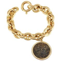 Preowned Sam.saab Roman Coin Bracelet And Yellow Gold Chain (16,230 ILS) ❤ liked on Polyvore featuring jewelry, bracelets, chain bracelets, yellow, gold bangles, gold chain jewelry, yellow bangles, pre owned jewelry and yellow gold bangle