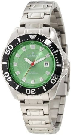 Croton Women's CA201228SSGR Green Dial Stainless Steel Watch -