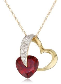 """10k Yellow Gold Diamond and Garnet Heart-Shaped Pendant, 18"""" Amazon Curated Collection,http://www.amazon.com/dp/B000TR35P6/ref=cm_sw_r_pi_dp_1p5ctb10NM0QCF2A"""