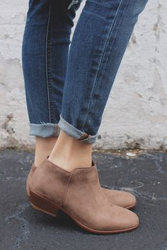 "A low heeled bootie is a must-have this season and this pair is so perfect they'll have you saying ""please Be Mine."" Our Be Mine Booties are a pair of faux suede, almond toe ankle booties featuring a"