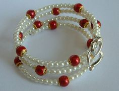SPECIAL PRICE Earrings and bracelet memory wire/ white by emymade, $22.00