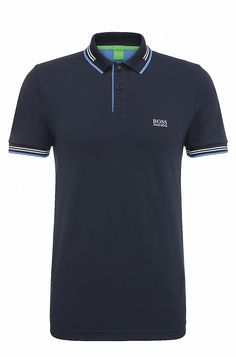 Slim-fit stretch-cotton polo shirt with contrast tipping Polo Shirt Outfits, Mens Polo T Shirts, Camisa Polo, Hugo Boss, Polo Shirt Design, Collar Designs, Dark Blue, Men's Fashion, Men Sweater