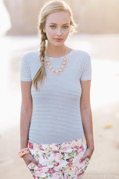 Stripes plus floral Seashells at ShopRuche.com